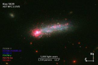 Die sternbildende Zwerggalaxie Kiso 5639, aufgenommen vom Weltraumteleskop Hubble. Die Beschriftungen zeigen die Farben der verwendeten Filter an und geben einen Größenvergleich. (NASA, ESA, and Z. Levay (STScI))