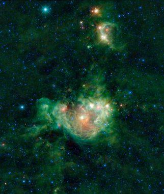 NGC 2714, aufgenommen vom Wide-Field Infrared Survey Explorer (WISE). (NASA / JPL-Caltech / UCLA)