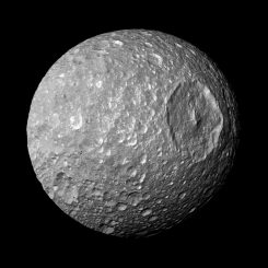 Der Saturnmond Mimas, aufgenommen von der NASA-Raumsonde Cassini. (NASA / JPL-Caltech / Space Science Institute)