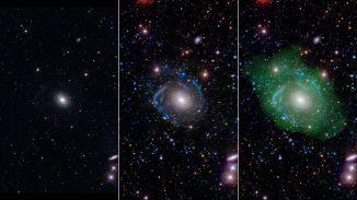 In sichtbarem Licht (links) scheint UGC 1382 eine normale elliptische Galaxie zu sein. Ultraviolettdaten und tiefere optische Daten (Mitte) offenbaren Spiralarme. Dünn verteiltes Wasserstoffgas (rechts in grün dargestellt) zeigt, dass die Galaxie tatsächlich sehr groß ist. (NASA / JPL / Caltech / SDSS / NRAO / L. Hagen and M. Seibert)