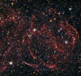 DEM L316A, hier aufgenommen vom Weltraumteleskop Hubble, ist ein Supernova-Überrest in der Großen Magellanschen Wolke. (ESA / Hubble & NASA, Y. Chu)