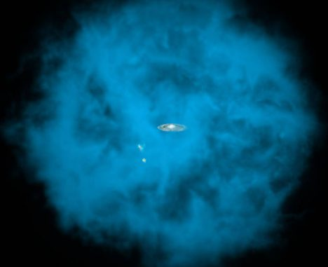 Künstlerische Darstellung der Milchstraßen-Galaxie und ihrer kleinen Begleiter innerhalb des riesigen Halos aus Millionen Grad heißem Gas, das nur für Röntgenteleskope sichtbar ist. Einer neuen Studie zufolge ist der Halo nicht stationär, sondern rotiert in die gleiche Richtung wie die galaktische Scheibe. (NASA / CXC / M.Weiss / Ohio State / A Gupta et al.)