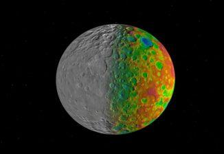 Farbcodiertes Bild des Zwergplaneten Ceres, basierend auf Daten der NASA- Raumsonde Dawn. (NASA / JPL-Caltech)