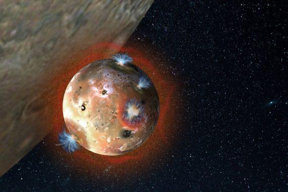 Illustration der Atmosphäre von Io, während sie bei einer Finsternis kollabiert. (Image Courtesy of Southwest Research Institute)