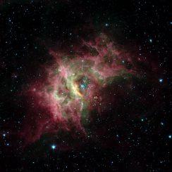 RCW 49, basierend auf Daten des Weltraumteleskops Spitzer in infraroten Wellenlängen. (NASA / JPL-Caltech / University of Wisconsin)
