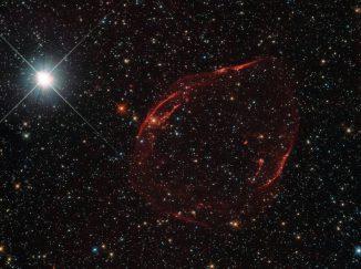 Der Supernova-Überrest DEM L71, hier aufgenommen vom Weltraumteleskop Hubble, liegt in der Großen Magellanschen Wolke. (ESA / Hubble & NASA, Y. Chu)