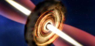 Künstlerische Darstellung der Scheibe und Jets um den massereichen jungen Stern. (A. Smith, Institute of Astronomy, Cambridge)