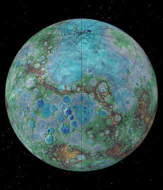 Merkur auf einer Falschfarbenaufnahme. (NASA / JHUAPL / Carnegie Institution of Washington / USGS / Arizona State University)