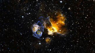 LMC P3 (Kreis) liegt in einem Supernova-Überrest namens DEM L241 in der Großen Magellanschen Wolke. (NOAO / CTIO / MCELS, DSS)