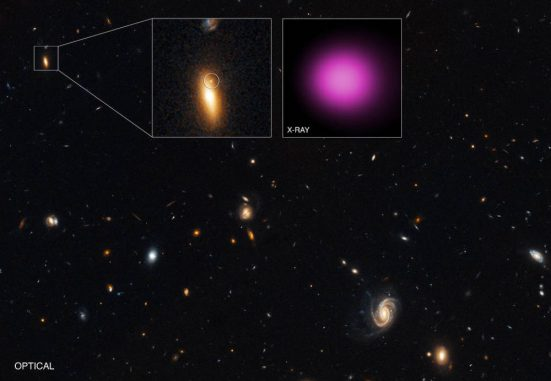 Die hyperleuchtkräftige Röntgenquelle XJ1417+52 in Hubbles Nahansicht (oben links) und Chandras Röntgenansicht (oben rechts). (X-ray: NASA / CXC / UNH / D.Lin et al; Optical: NASA / STScI)
