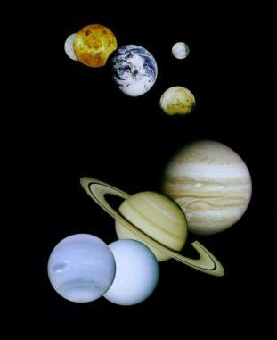 Fotomontage der Planeten unseres Sonnensystems (NASA)