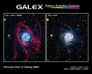 Die Pinwheel-Galaxie M83 in Ultraviolett (rechts) und ein Kompositbild von ihr in UV- und Radiowellenlängen (links) (NASA / JPL-Caltech / VLA / MPIA)