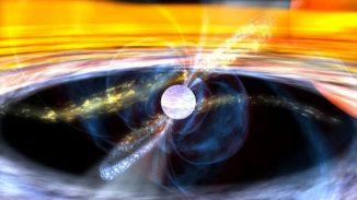 Illustration eines Pulsars, der Materie von einem nahen Stern abzieht (NASA)