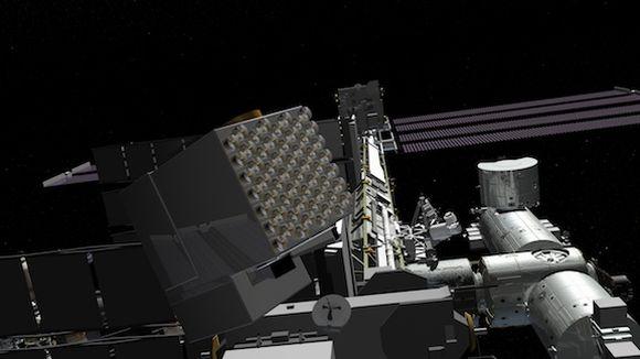 Künstlerische Darstellung des NICER-Instruments an Bord der Internationalen Raumstation ISS (NASA)