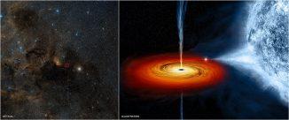 Optische Aufnahme von Cygnus X-1 (links) und eine Illustration (rechts). (Optical: DSS; Illustration: NASA / CXC / M.Weiss)