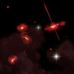 Künstlerische Darstellung der vier extrem roten Galaxien, die fast 13 Milliarden Lichtjahre von der Erde entfernt sind. (David A. Aguilar (CfA))