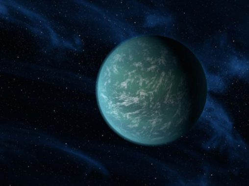 Künstlerische Darstellung des Exoplaneten Kepler-22b (NASA / Ames / JPL-Caltech)