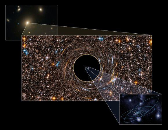 NGC 3842 ist die hellste Galaxie in einem großen Galaxienhaufen. Das Schwarze Loch in ihrem Zentrum (hier als Illustration abgebildet) lässt unser gesamtes Sonnensystem sehr klein aussehen (Pete Marenfeld)