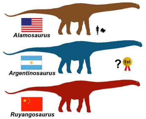 Vergleich der größten Dinosaurier mit einem Menschen (Image Courtesy of Denver Fowler)