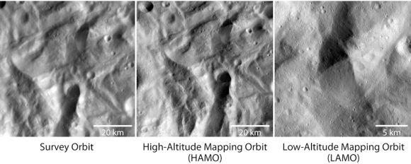 Die linke Aufnahmen machte Dawn aus dem Survey Orbit, die mittlere aus dem High-Altitude Mapping Orbit in 700 Kilometern Höhe. Das rechte Bild stammt aus dem Low-Altitude Mapping Orbit und wurde aus einer Höhe von 199 Kilometern gemacht. (NASA / JPL-Caltech / UCLA / MPS / DLR / IDA)