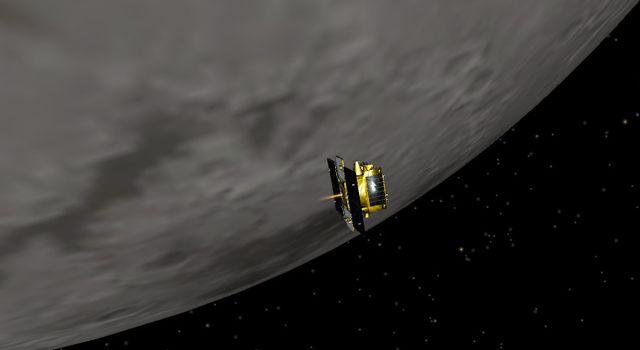 Künstlerische Darstellung der Raumsonde GRAIL-B bei ihrem Eintrittsmanöver in die Mondumlaufbahn (NASA / JPL-Caltech)