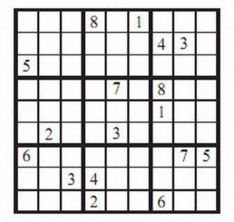 Ein klassisches Sudoku-Rätsel mit 17 Hinweisen