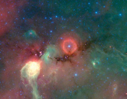 Ein Infrarotbild einer Sternentstehungsregion im Sternbild Cygnus (Schwan) (NASA / JPL-Caltech / J. Hora (Harvard-Smithsonian))