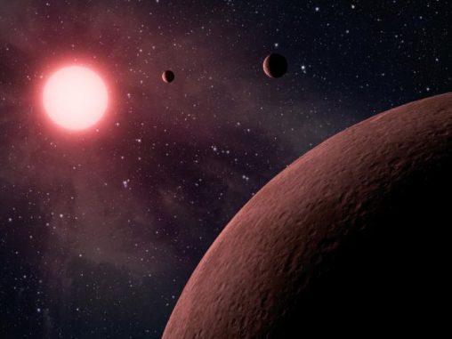 Künstlerische Darstellung des roten Zwergsterns KOI-961 (NASA / JPL-Caltech)