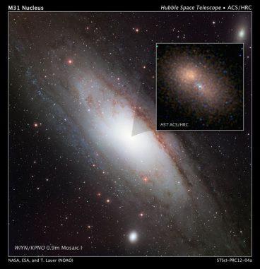 """Der """"Doppelkern"""" der Andromeda-Galaxie. Die Hubble-Aufnahme oben rechts zeigt rötliche Sterne, die das Schwarze Loch in größerer Entfernung umkreisen. (NASA, ESA, and T. Lauer (National Optical Astronomy Observatory)"""