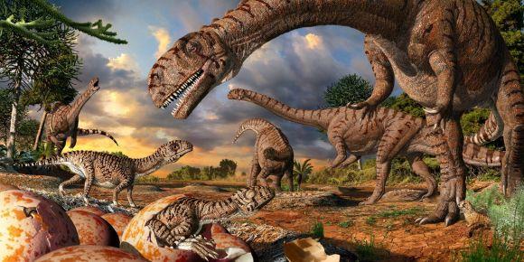 Illustration der 190 Millionen Jahre alten Prosauropoden Massospondylus und seiner Jungtiere (Artwork by Julius Csotonyi)
