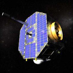 Illustration des Interstellar Boundary Explorers (IBEX) im Weltraum (NASA)