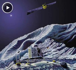 Illustration des Landers auf dem Kometen 67P/Churyumov-Gerasimenkoand (Science@NASA)