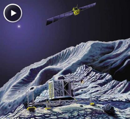 Illustration des Landers auf dem Kometen 67P/Churyumov-Gerasimenkoand (Science@NASA)