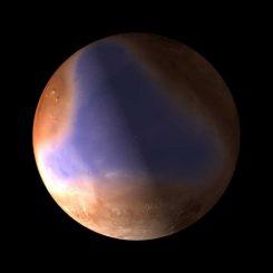Illustration eines frühzeitlichen Ozeans auf dem Mars (ESA / C. Carreau)