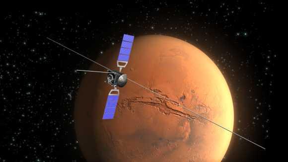 Illustration der Raumsonde Mars Express vor dem Mars im Hintergrund (ESA / C. Carreau)