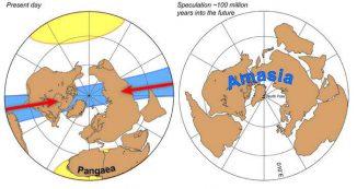 Vorhersage der Kontinentalverschiebung gemäß der Orthoversionstheorie (Yale University / Ross N. Mitchell)