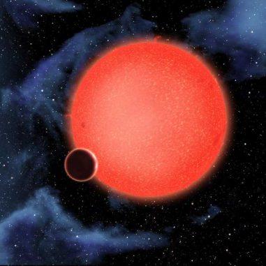 Künstlerische Darstellung des Exoplaneten GJ1214b und seinem Zentralstern (NASA, ESA, and D. Aguilar (Harvard-Smithsonian Center for Astrophysics))