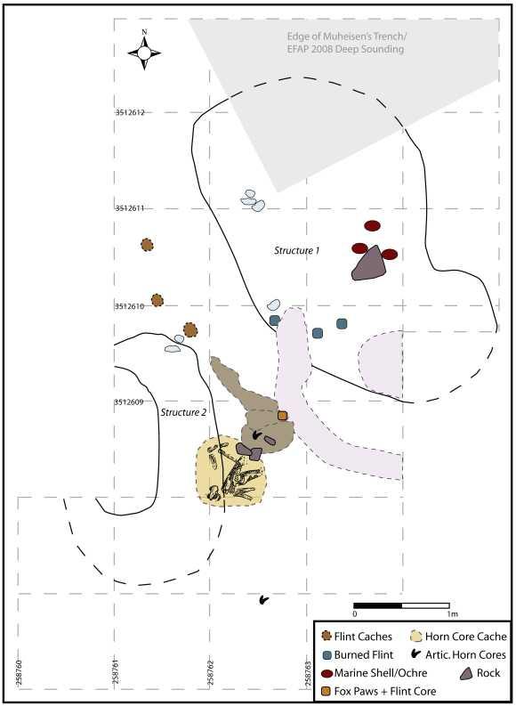 Lageplan der Ausgrabungsstätte mit den Strukturen / Fundstücken und deren Ausrichtung zueinander (Dr. Lisa Maher / PloS One)