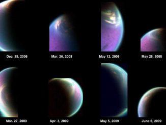 Diese Bilderserie zeigt die Wolkendecke über dem Nordpol des Titan (NASA / JPL-Caltech / University of Arizona / CNRS / LPGNantes)