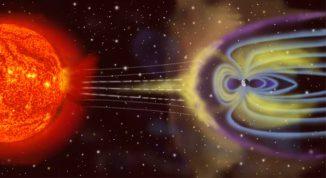 Künstlerische Darstellung des irdischen Magnetschweifs, wie er vom Druck des Sonnenwindes erzeugt wird (NASA)