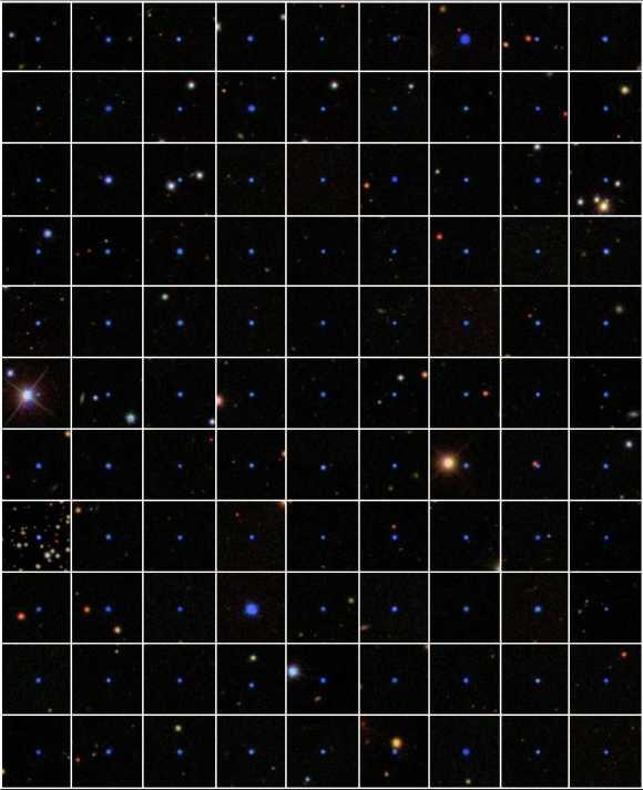 Dieses Mosaik zeigt 99 der rund 4.000 von Badenes und seinen Kollegen untersuchten weißen Zwerge. Unter den 4.000 fanden sie 15 binäre weiße Zwerge. (Carles Badenes and the SDSS-III Team)
