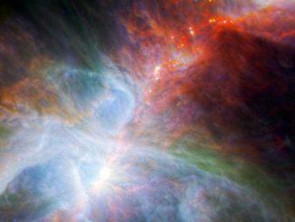 Junge Protosterne im Orionnebel (NASA / ESA / JPL-Caltech / IRAM)