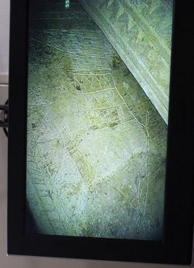 Jonah-Abbildung auf der Frontseite von Ossuar 6 (James D. Tabor, University of North Carolina at Charlotte)