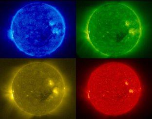 Unsere Sonne, fotografiert in verschiedenen Wellenlängen. (Stereo Project / NASA)