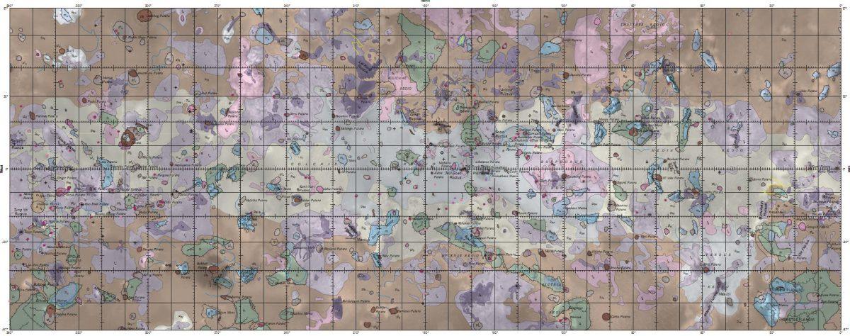Vollständige schematische Übersichtskarte von Io - Anklicken zum Vergrößern (USGS)