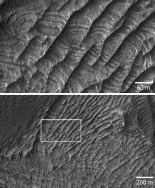 Aufnahmen des Mars Reconnaissance Orbiter zeigen eine neue Klasse von Landformen auf dem Mars. (NASA)