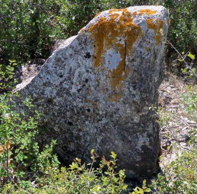 Menhir in Glastonbury, England. Deutlich erkennbar ist der auffällige Schlitz im oberen Teil des Felsens. (G. Ruhtra - für den richtigen Bildnachweis siehe den Link am Ende des Artikels)