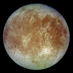Jupiters Eismond Europa, aufgenommen von der Raumsonde Galileo (NASA / JPL / DLR)