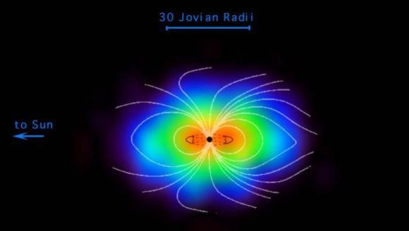 Jupiters Magnetosphäre, hier schematisch dargestellt, rotiert mit dem Planeten und überflutet seine Monde mit energiereicher Strahlung (NASA / JPL / Johns Hopkins University Applied Physics Laboratory)