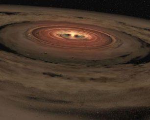Illustration eines Sonnensystems im Frühstadium seiner Entwicklung (NASA / JPL-Caltech)
